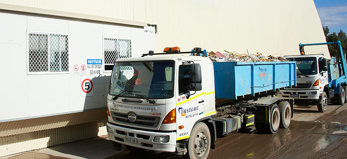 Instant waste truck filled with rubbish