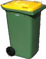 isolated wheelie bin with yellow top