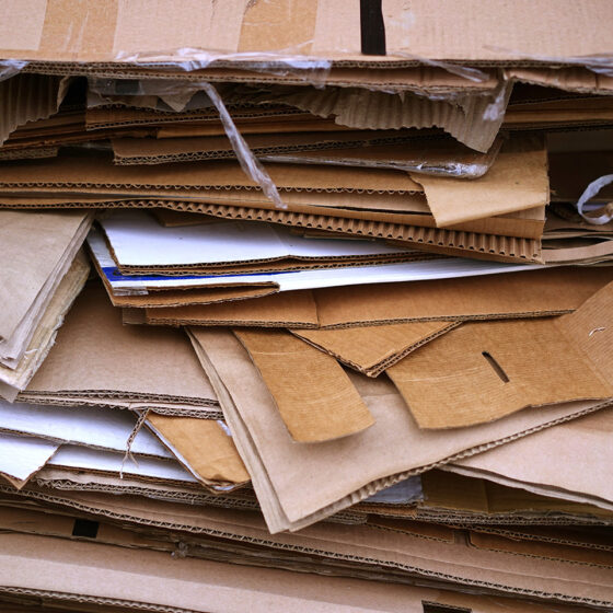 Close up of numerous cardboard boxes