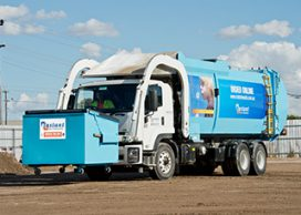 Instant Waste front lift truck with skip bin